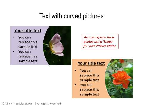 Text boxes with curved pictures
