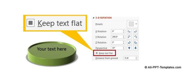 PowerPoint Keep Text Flat Menu