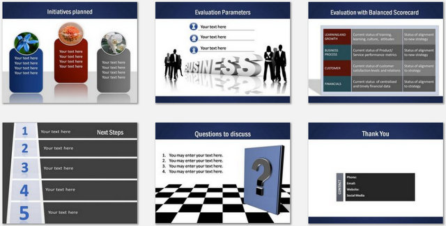 PowerPoint Professional Blue Charts 03