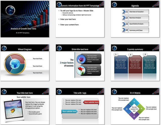 PowerPoint  Risk Growth Analysis Charts 1