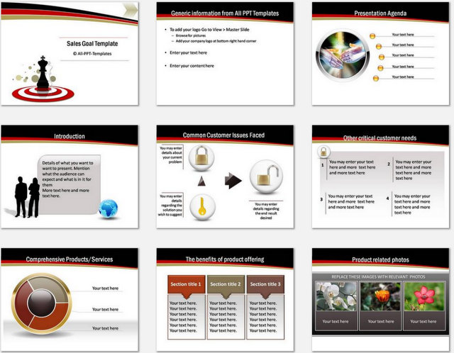 PowerPoint Sales Goals Charts 01