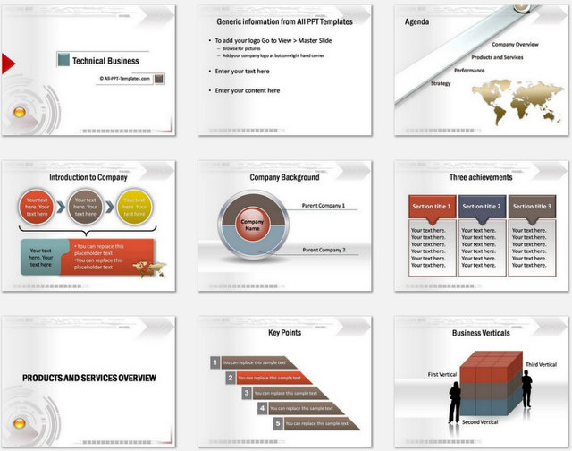 PowerPoint Technical Business Intro Charts 1