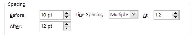 Line Spacing setting