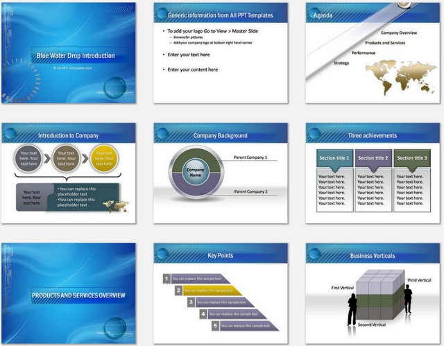 PowerPoint Water Drop Intro Charts 1