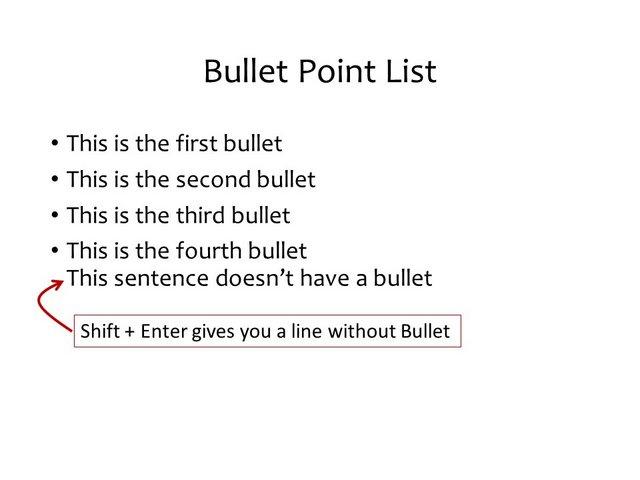 Shift Key for bullet points